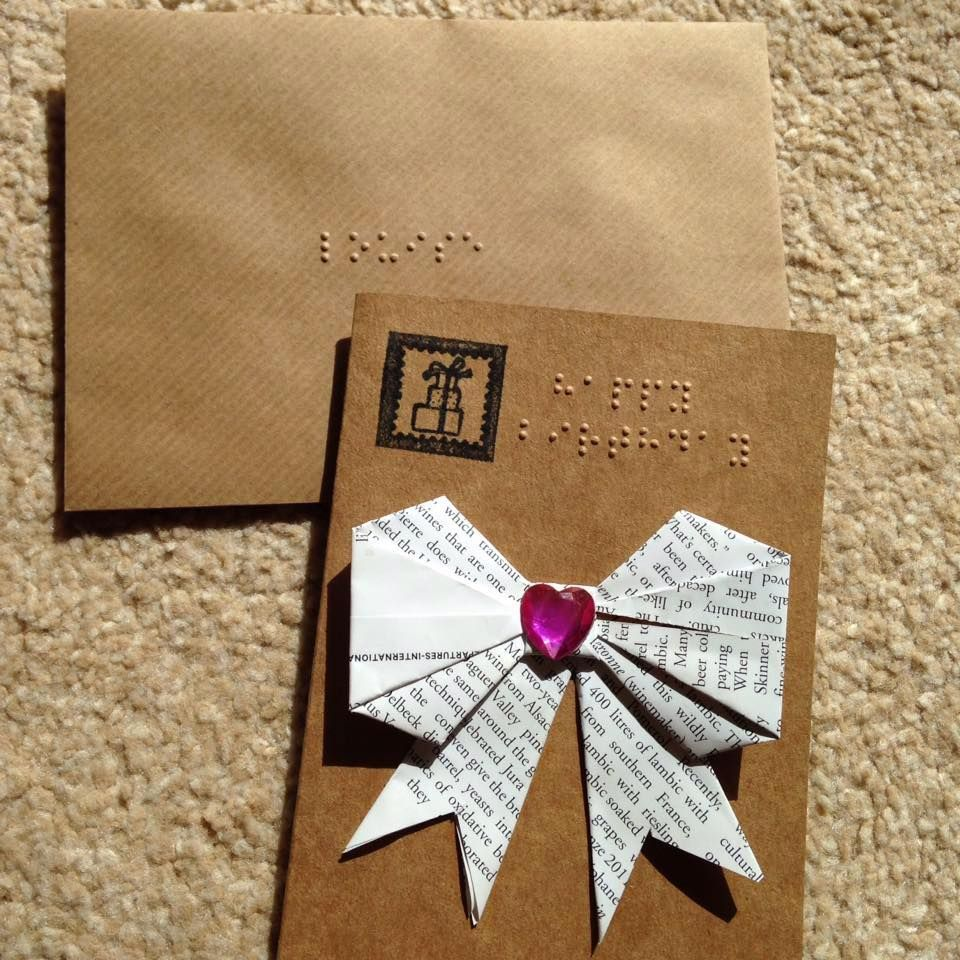 Braille Handmade Origami Bow Ribbon Card
