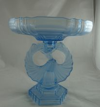 Rare Art Deco Czech Glass Centerpiece Compote Dancer Figure