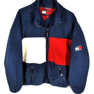 6f2bb890b VTG 90s Tommy Hilfiger BIG LOGO Fleece Jacket Mens XL Full Zip HIP ...