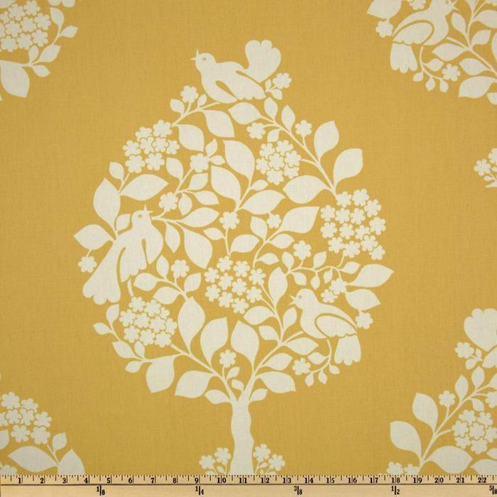 Suburban Tree Of Life Yellow Discount Designer Fabric