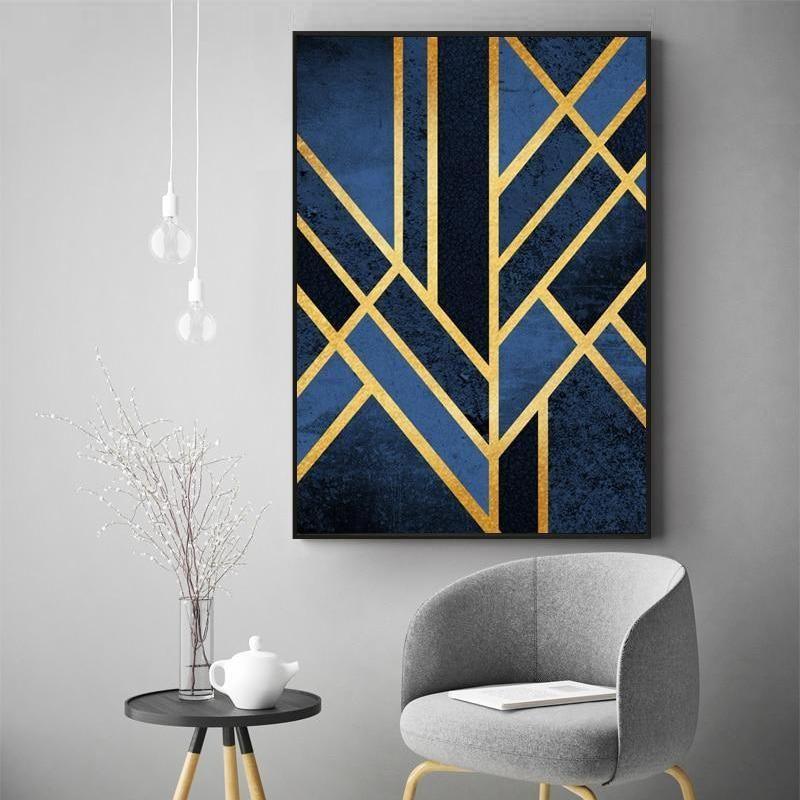 Abstract Linear Art Deco Wall Art Gold Blue Geometric Nordic Design Canvas Prints Nordicwallart Com Art Deco Wall Art Wall Art Canvas Painting Linear Art