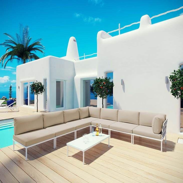 Best Harmony 8 Piece Outdoor Patio Aluminum Sectional Sofa Set 400 x 300