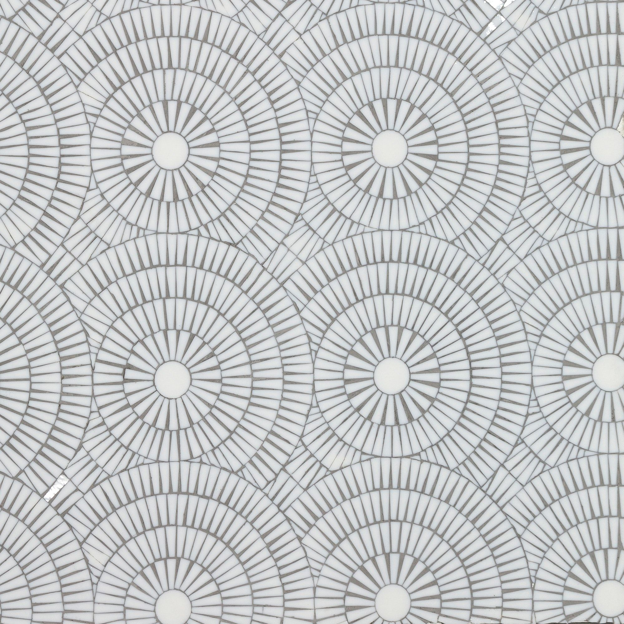 Motor City Circles Ice White Gloss Glass Mosaic By
