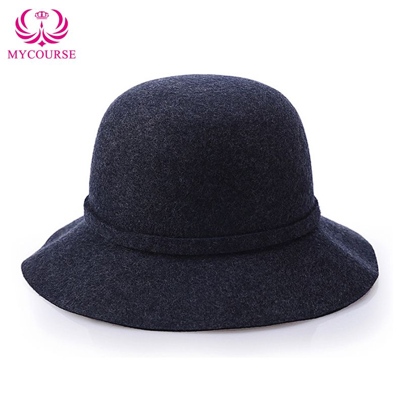 177ed4704cdab Find More Bucket Hats Information about MYCOURSE Women Ladies Bow Wool  Imitation Fedora Bucket Cap Felt