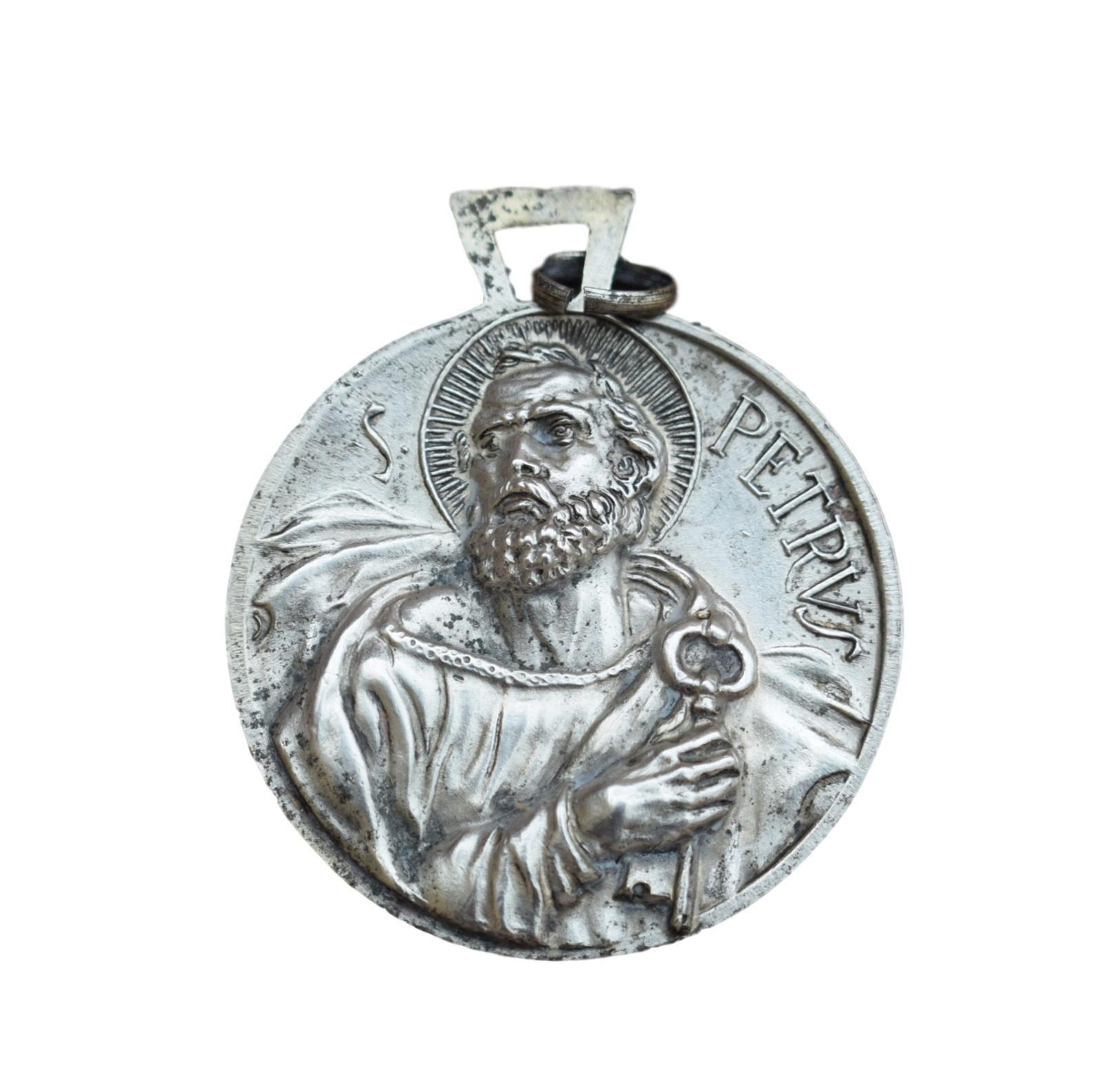 St peter medal saint peter pope john xxiii medal italian antique large religious medal pendant charm aloadofball Images