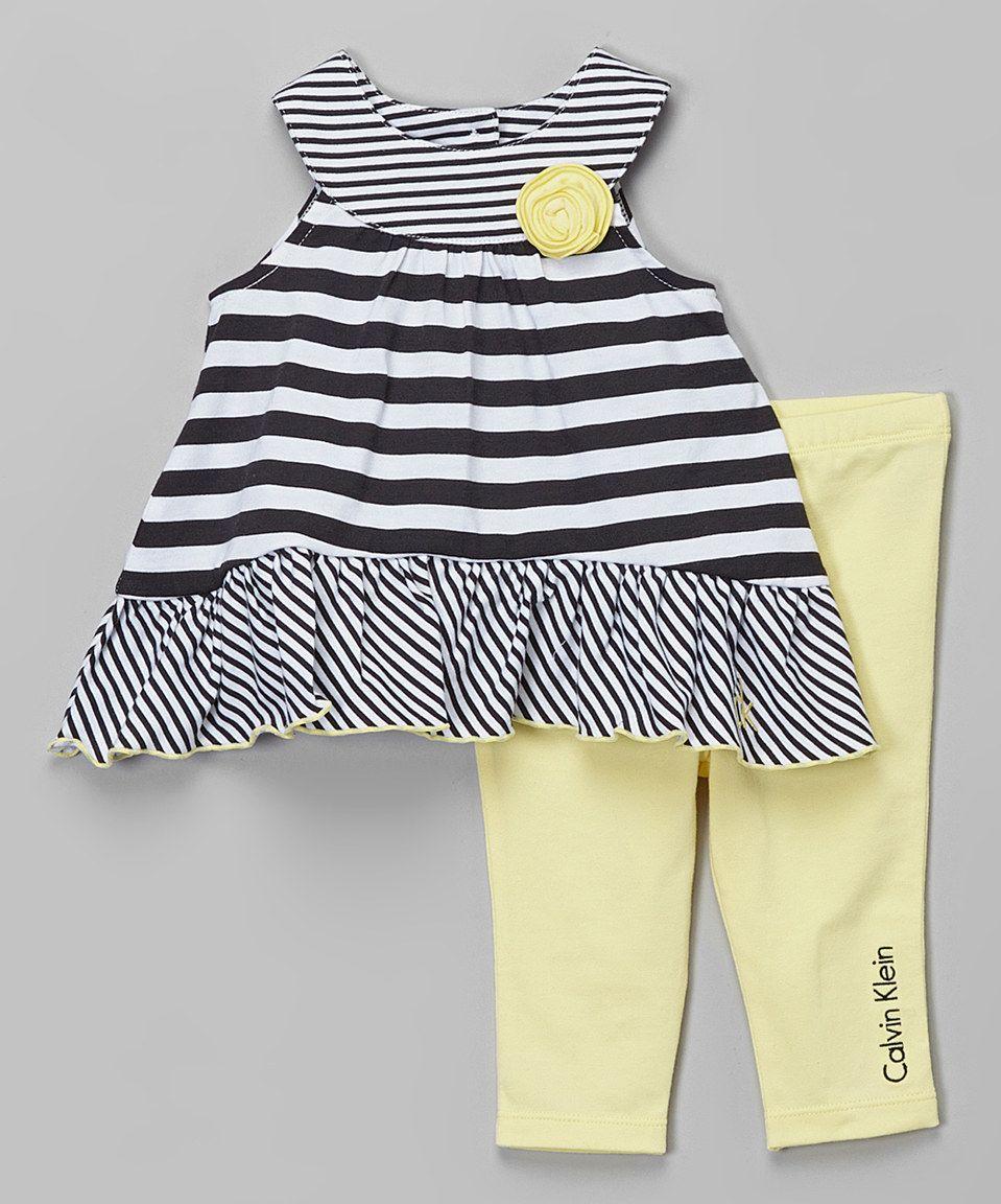 Black & Yellow Stripe Flower Top & Leggings - Infant by Calvin Klein Jeans #zulily #zulilyfinds