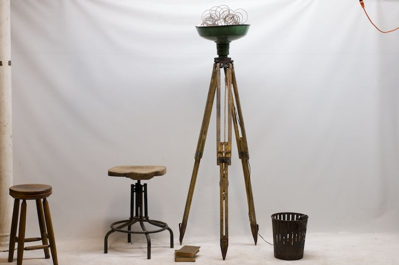 Vintage floor lamp and stools lighting