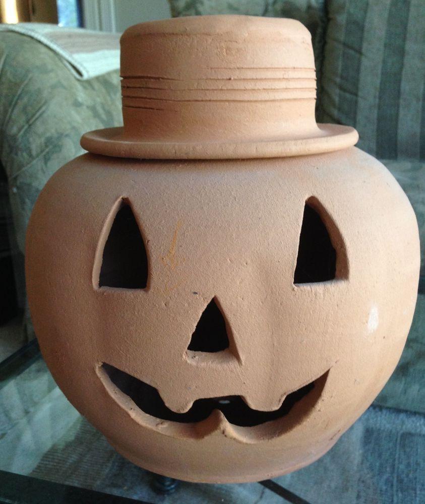 Pumpkin Jack O Lantern Halloween Large Terra Cotta Candle Holder Decoration Candle Holder Decor Terra Cotta Candle Holder Candle Holders
