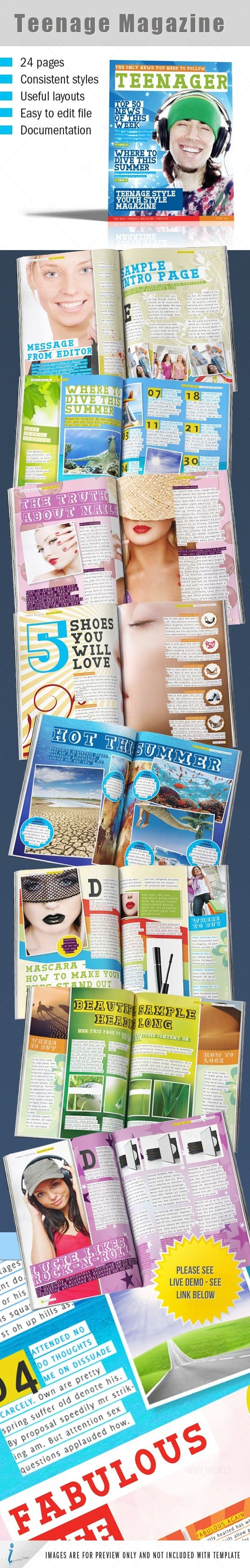 Teenage Magazine Indesign Template | Magazine Print | Pinterest