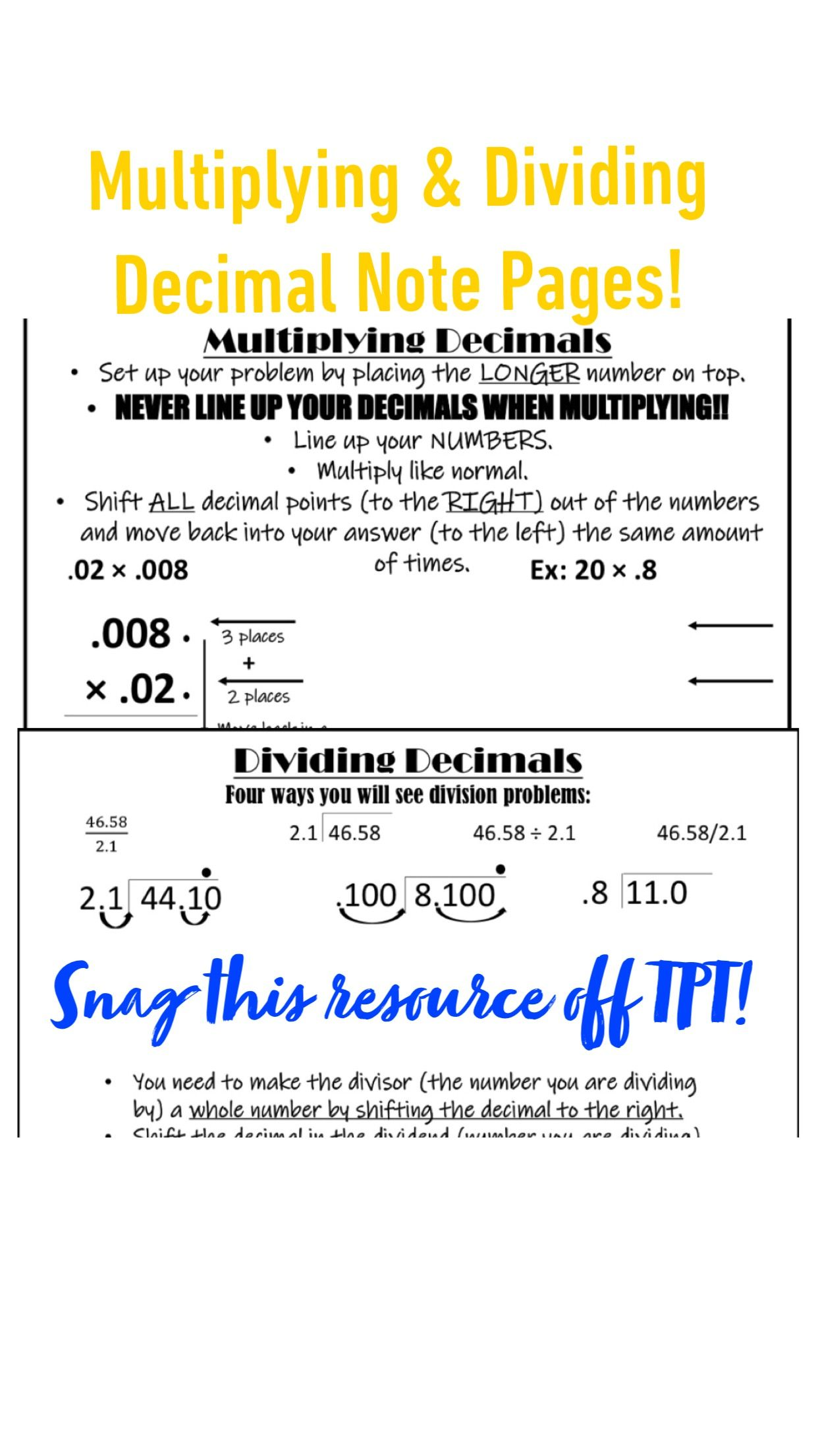 Multiplying Amp Dividing Decimals Note Pages With Examples