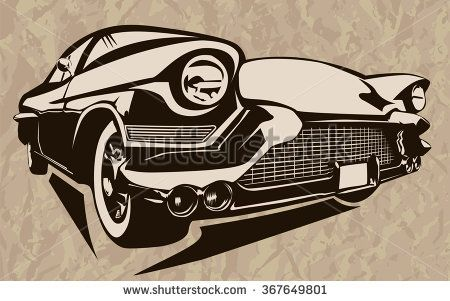 Vintage Muscle Cars Inspired Cartoon Sketch Vector Abstract Old