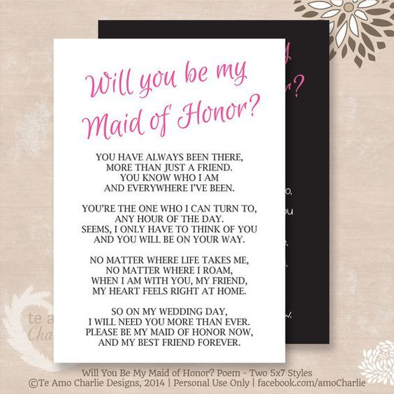 will you be my matron of honor poem instant download matron of