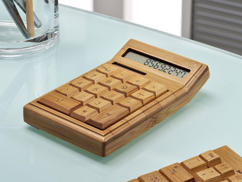 Solarbetriebene Taschenrechner Handmade Handarbeit Bambus Holz-Rechner