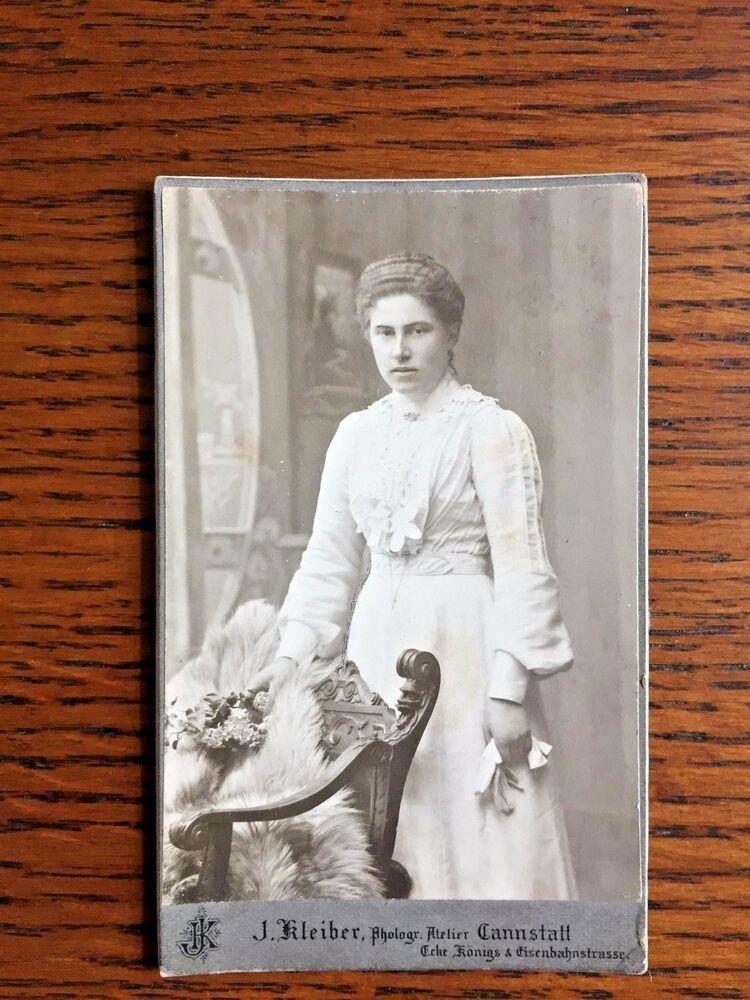 ANTIQUE EDWARDIAN GERMAN CDV CARTE DE VISITE PHOTO YOUNG WOMAN WEDDING