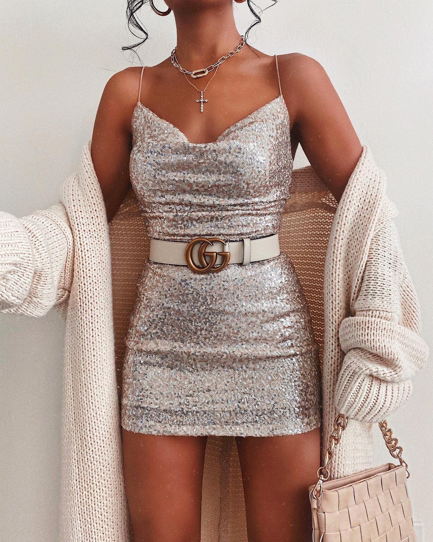 Evangelina Formal Cowl Neck Sequin Mini Dress – f a s h i o n