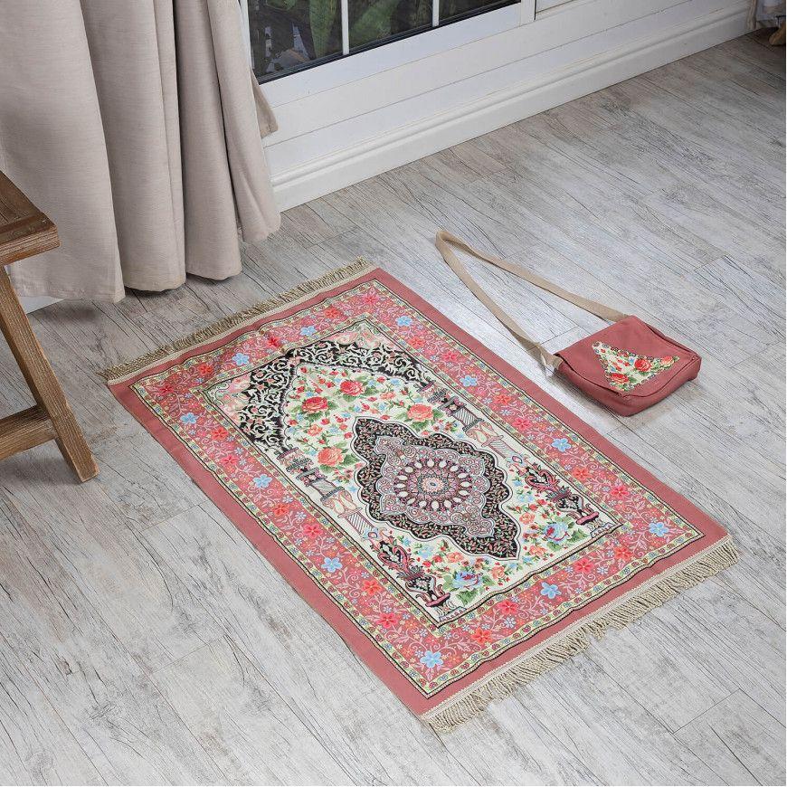 حقيبة سجادة صلاة خفيفة بزخارف أسلامية لون لحمي Bohemian Rug Carpet Rugs