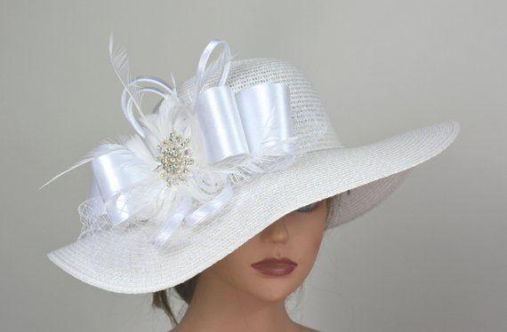 df5cd100 White Church Wedding Hat Head Piece Kentucky Derby Hat White Bridal Coctail Hat  Couture Fascinator