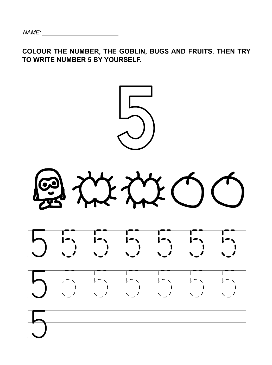 worksheet Learning Numbers Worksheets number 5 worksheets for children activity shelter kids that you can print and use as the media of learning your children