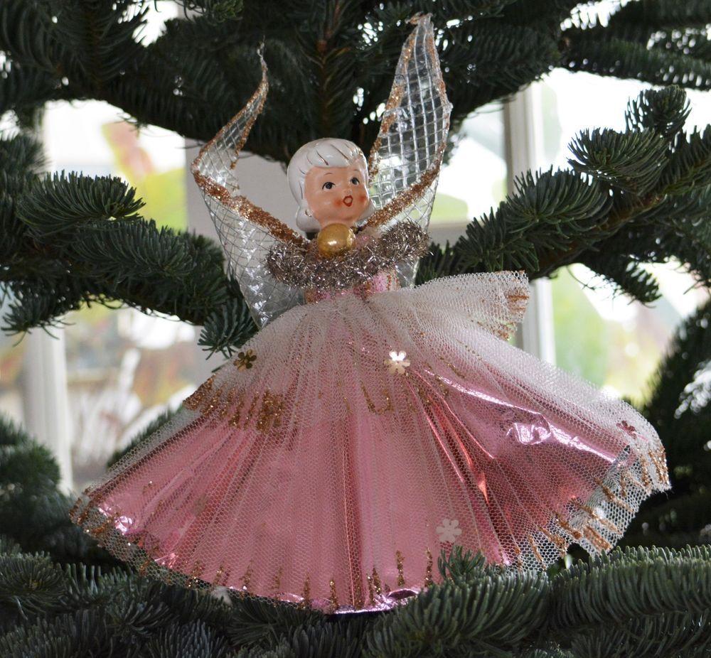 Small Angel Christmas Tree Topper: Lg Vintage PINK ANGEL Christmas TREE TOPPER Porcelain