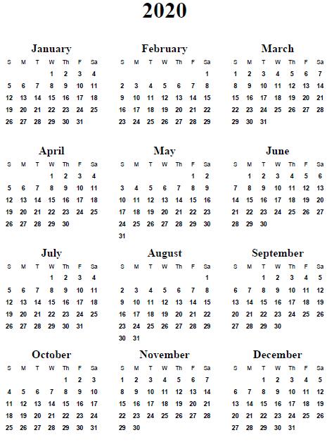 Calendarprintablefree2020 Calendar Printable Free Printable Calendar Template Monthly Calendar Printable Yearly Calendar Template