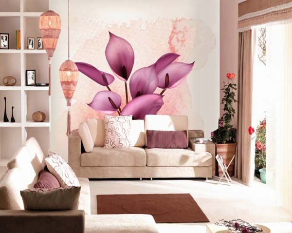 Wall Decoration Ideas With Floral Wallpaper for Living Room ...