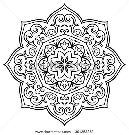 oriental simple floral mandala vector round ornament template for
