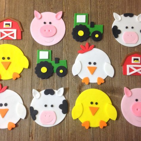 Farm Animals /Barnyard Theme Cupcake Toppers – Edible Fondant – Set of 12