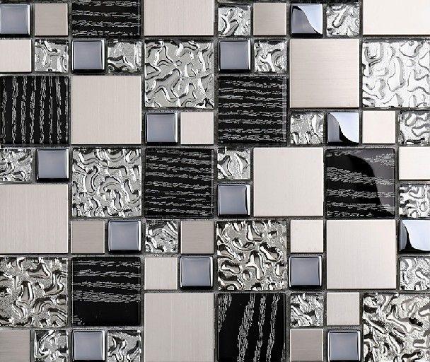 Silver Metal Mosaic Stainless Steel Tile Kitchen Backsplash Wall Tiles Ssmt114 Glass Mosaic Tile Glass Tiles Metal Mosaic Tiles Metallic Backsplash Glass Tile