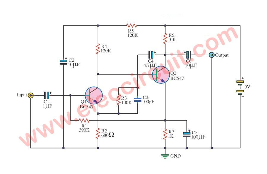 Simple pre-amplifier using BC547 transistors | Power Amplifiers ...
