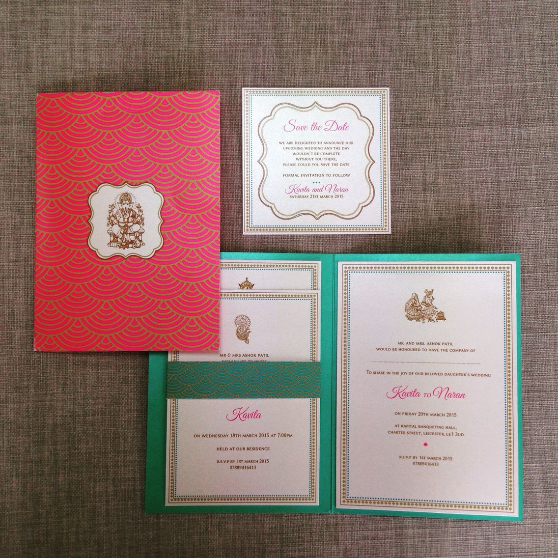 revadesign Art Deco inspired Indian wedding invitation   Reva ...