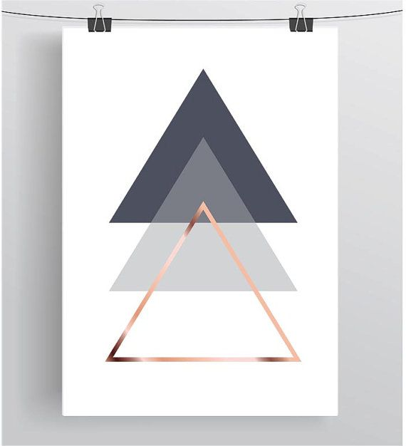 Graue druckbare Kunst abstrakt Poster geometrischen Print Dreieck - wohnzimmer bilder abstrakt