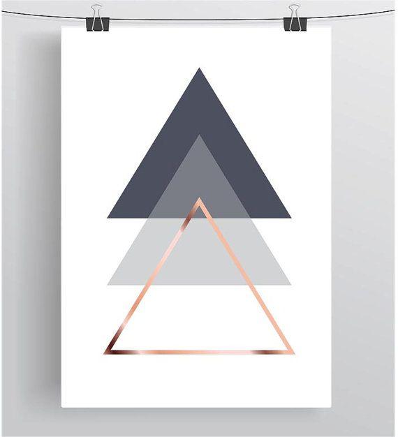 Skandinavische Poster gray printable abstract poster geometric print triangle wall