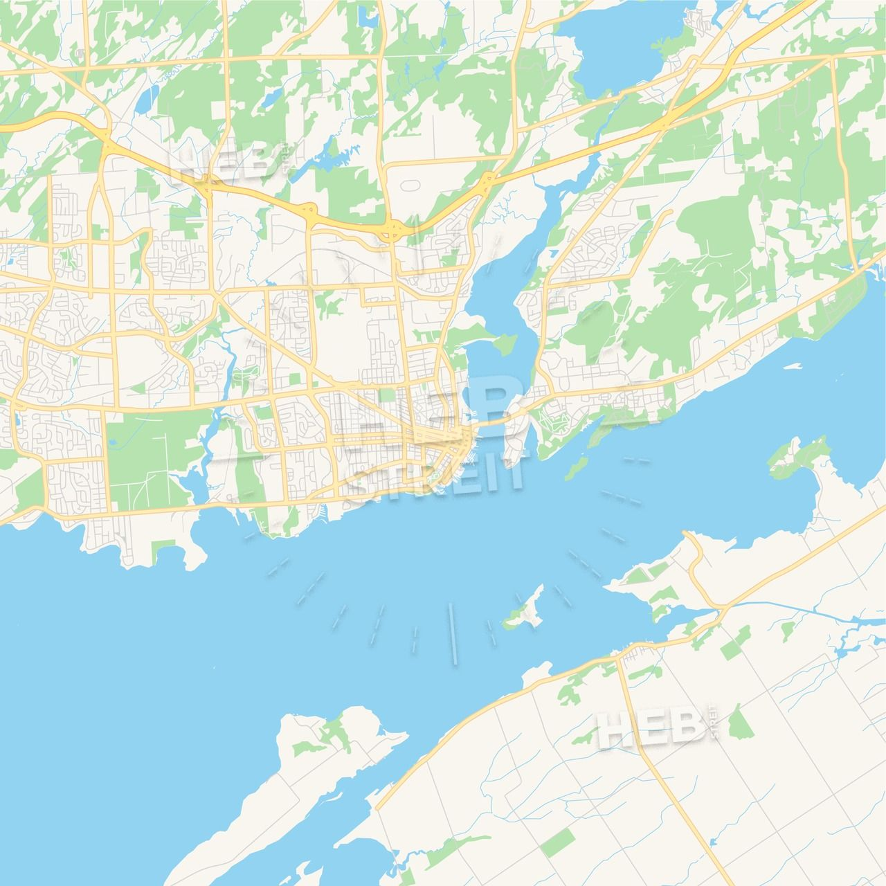 Canada Map Kingston Empty vector map of Kingston, Ontario, Canada | HEBSTREITS Maps
