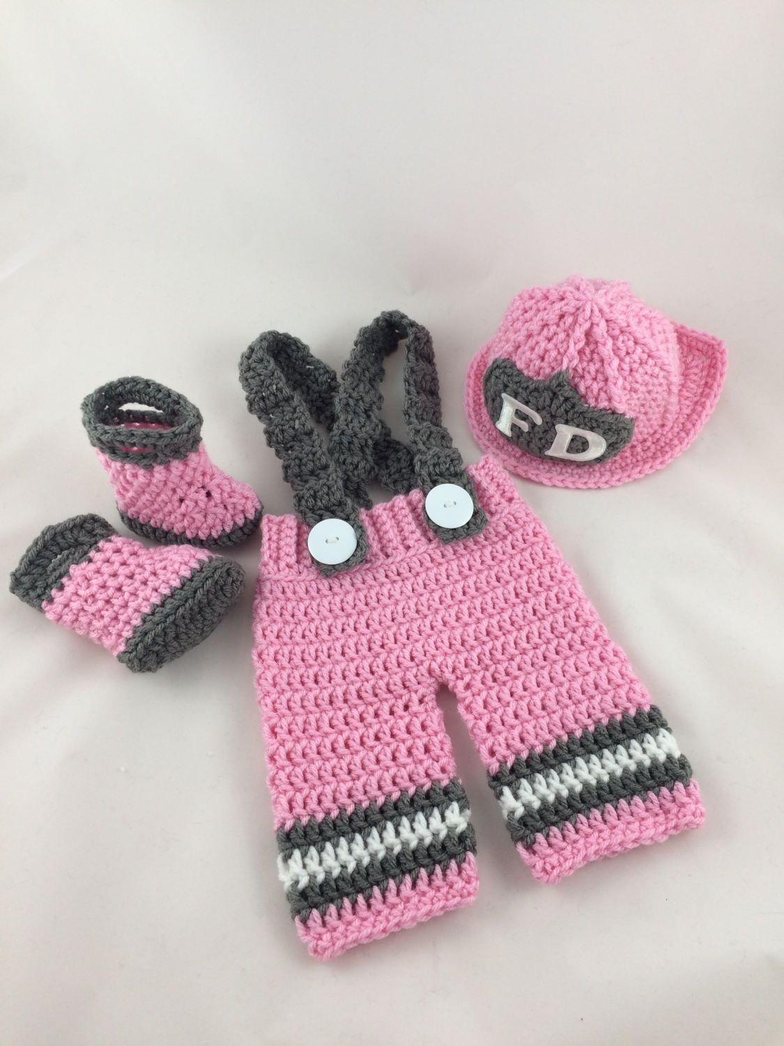 ee92d3f2e Baby Girl Firefighter Fireman Crochet Pink Hat Outfit - 4pc Turn Out Gear  w/Suspenders & Boots - Photography Prop - Newborn - 0-3 by  TimelessCrochetCraft on ...
