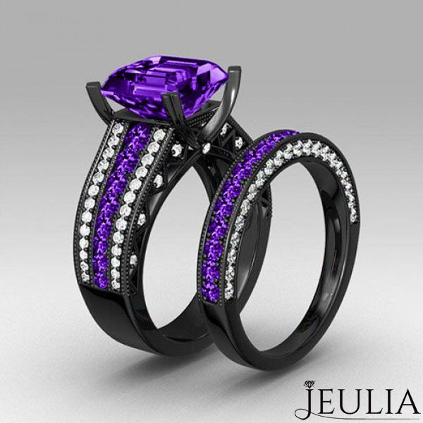 Mens Wedding Band Dark Purple Tungsten Ring Brushed Beveled Edge