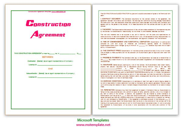 Microsoft Contract Templates Construction Agreement Template Httpwww.mstemplate .