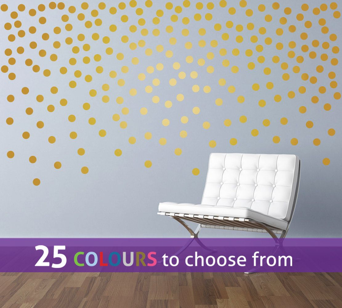 POLKA DOTS, 120 Pack, Peel And Stick Wall Art Sticker Decal, Gold Polka