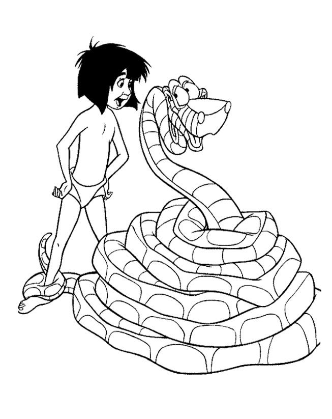 Jungle Book Mowgli And Kaa Coloring Pages | colorare | Pinterest ...