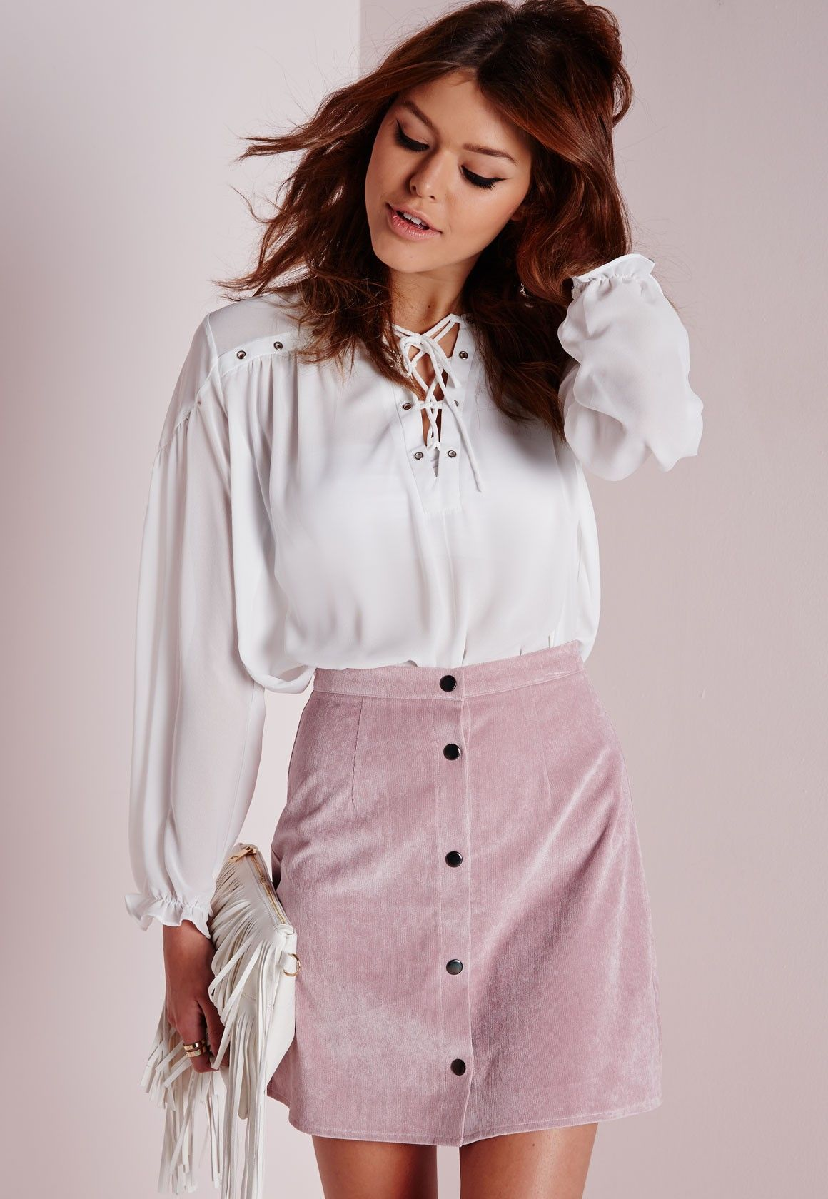 a5c98dea8e Missguided - Cord Button Through A Line Skirt Mauve | FALL/WINTER ...