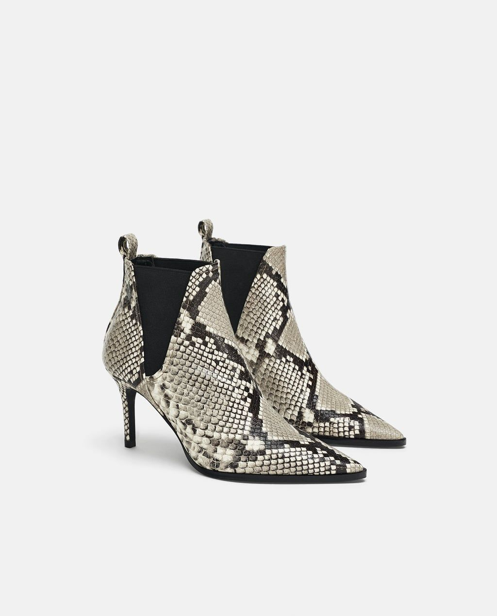 e9d7ad203b3 Image 1 of PRINTED LEATHER HIGH-HEEL ANKLE BOOTS from Zara