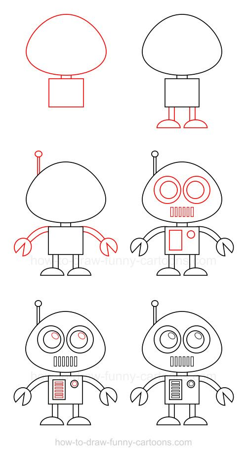 How To Draw A Robot Drawing People Step By Step Pinterest