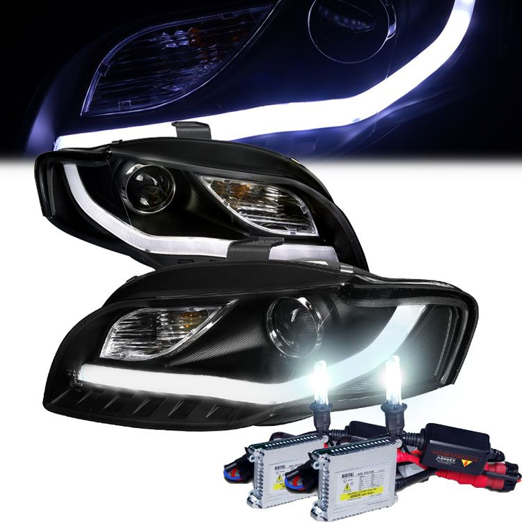 HID Xenon + 06-08 Audi A4 [Halogen Model] LED DRL Bar Projector Headlights - Black