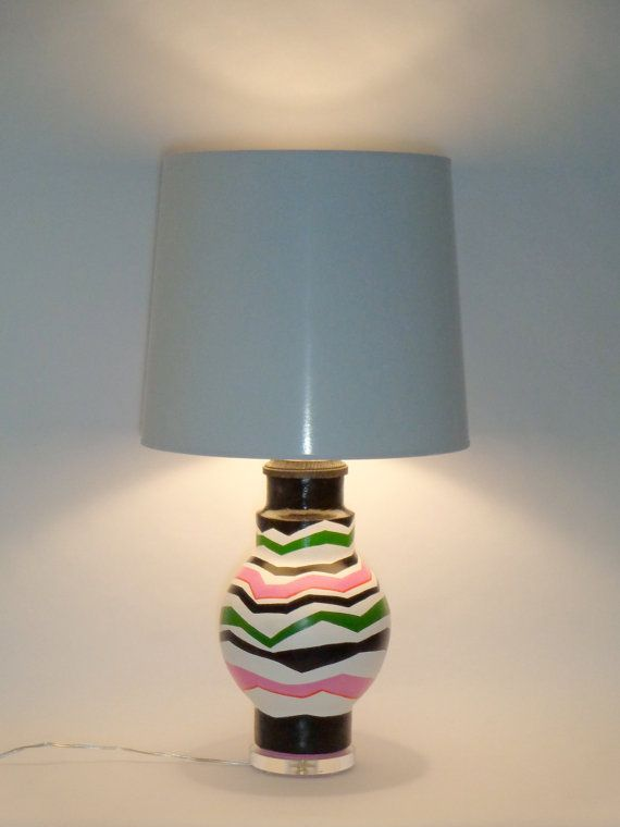Handmade And Hand Painted Lamp Bases Made From Recycled Materials Cardboard Newspaper Papier Mache Painting Lamps Refurbished Lamps Lamp