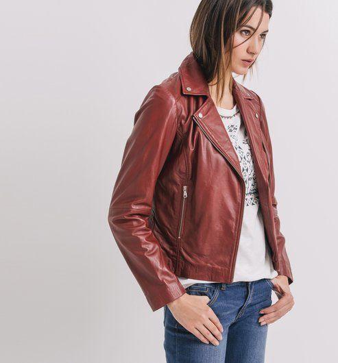 c7e9db27765c Blouson en cuir Femme rouge - Promod