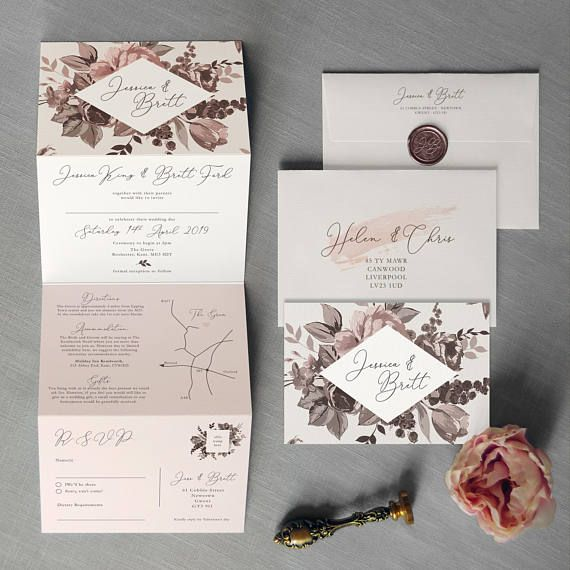 'Belle' Concertina wedding invitation. Inspired by illustrated wild flowers & berries. Featuring subtle blush pinks and grey wreath detail, a custom map and RSVP postcard. Perfect for a traditional English wedding or rustic wedding. The four-part folding concertina invite