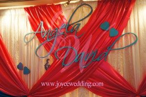 #Backdrop #full #name in #blue and #freesia #pink #backdrop are #unexpectedly matching and #create a #fun and #energetic #atmosphere for #wedding. It can also create a #personalize #touch for the #wedding.
