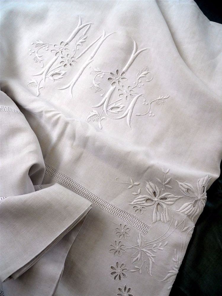 Antique french one sheet 2 pillowcases  large pure linen monogram embroidery