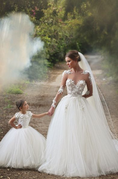 87c0b45e446f Here Comes the Mini Bride! Adorable Matching Gowns for The Bride and Her Flower  Girl!