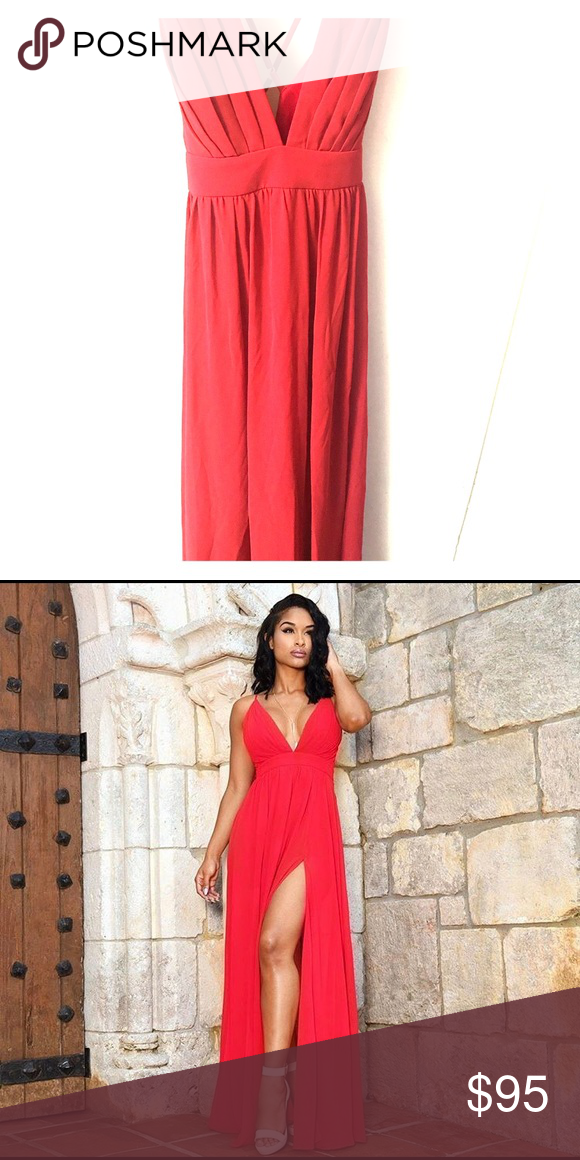 3d6204ffa7 Crisscross Back High Front Slit Maxi Dress Cherry Red Maxi Dress, only worn  once, great condition Dresses Maxi