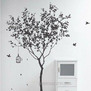 Tree with bird cage.